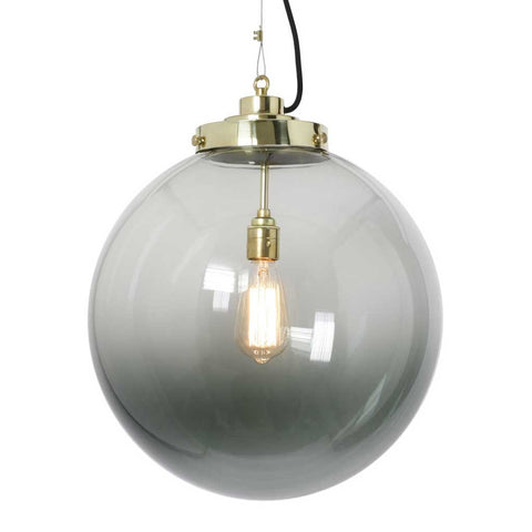 Anthracite Glass and Brass Globe Pendant Light by Original BTC