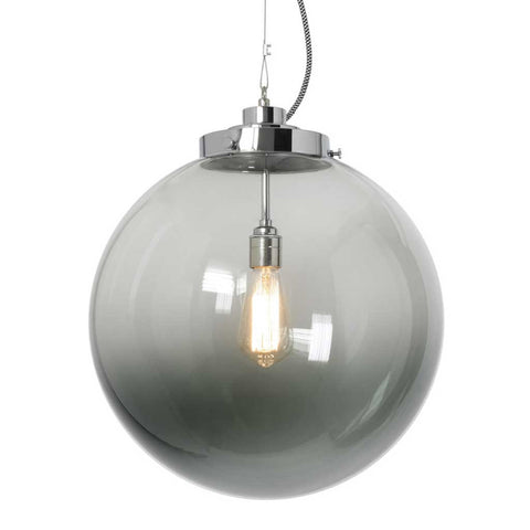 Anthracite Glass and Chrome Globe Pendant Light by Original BTC