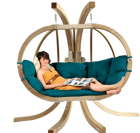Luxury Globo Royal Garden or Indoor Hanging Chair in Weatherproof Green