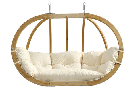 Luxury Globo Royal Garden or Indoor Hanging Chair in Natural White