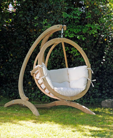 Luxury Globo Garden or Indoor Hanging Chair in Natural White