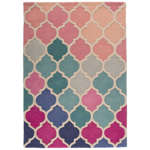 Illusion Rosella Rug in Pink and Blue