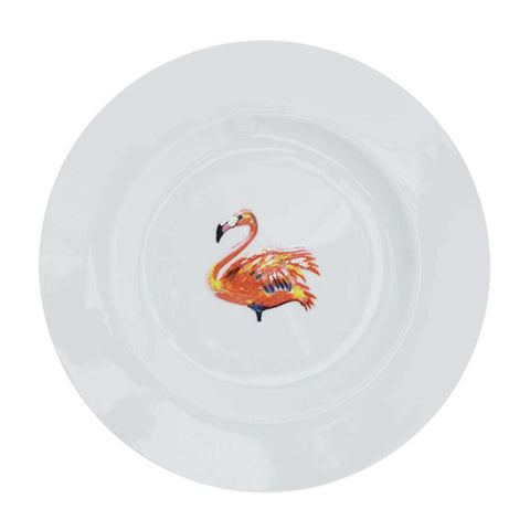 Set of 4 or 6 Flamingo Porcelain Side Plates