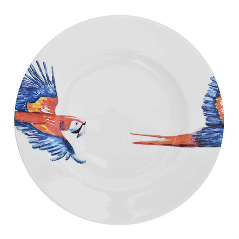 Polly | Tropical | Porcelain Parrot Dinner Plates | Set of 4 or 6