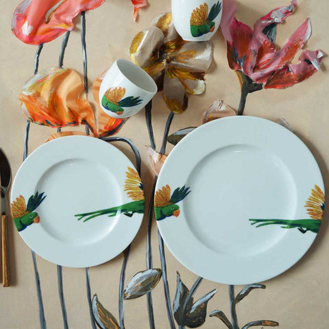Holly | Tropical | Porcelain Lovebird Dinner Plates | Set of 4 or 6
