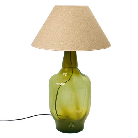 Large Tara Olive Green Glass Table Lamp