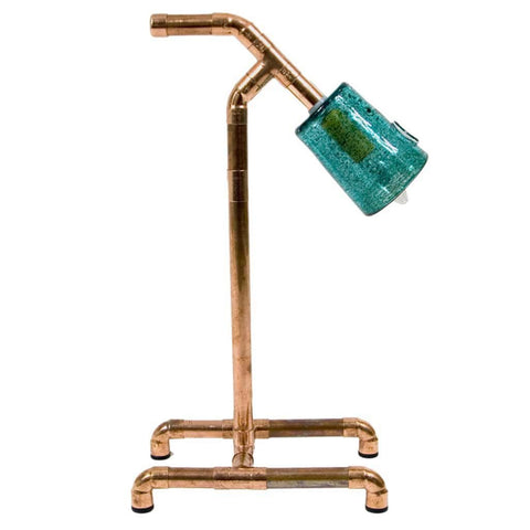 Julia Lamp3 |  Table Lamp | Copper Pipe and turquoise glass
