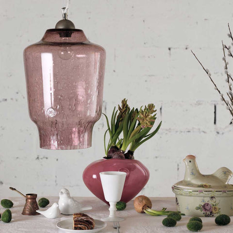 Jasmine | Bohemian handmade | Glass Pendant Light | Dusty Pink