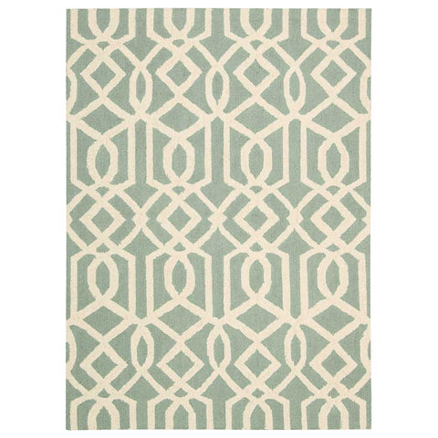 Linear Geometric Wool Rug in Aqua Blue and Ivory White