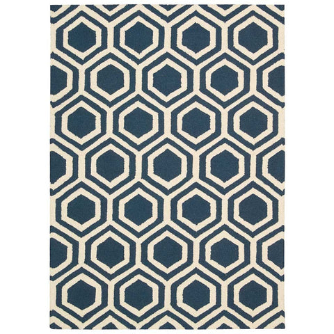 Linear Honeycomb Wool Rug in Blue and Ivory