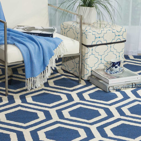 Totem | Honeycomb Wool Rug | Blue and Ivory
