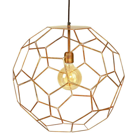 Marrakech Copper Iron Thread Honeycombe Pendant Light