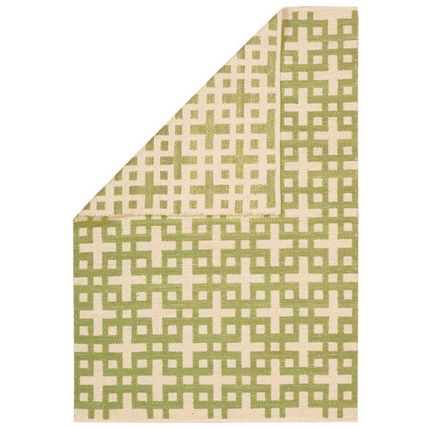 Hand Loomed Maze Rug in Moss Green