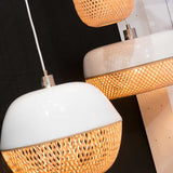 Flat White and Natural Mekong Bamboo Pendant Light