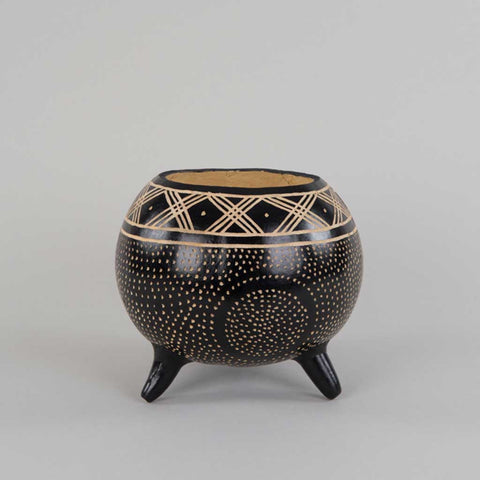 Handpainted Decorative African Gourd in Black and Beige