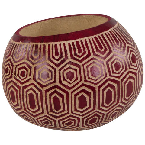 Handpainted Decorative African Gourd in Red and Beige