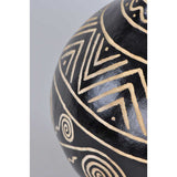 Handpainted Decorative African Gourd in Black and Beige Zig Zag