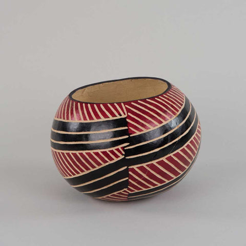 Handpainted Decorative African Gourd in Red Black and Beige