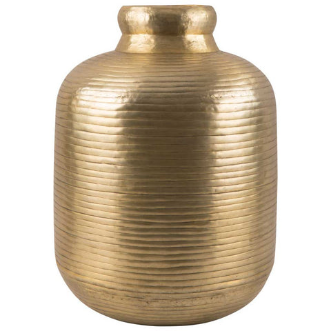 Antique Gold Ribbed Aluminium Vase