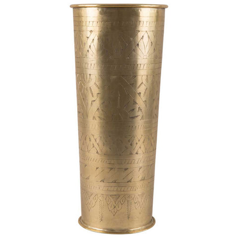 Antique Gold Etched Aluminium Vase