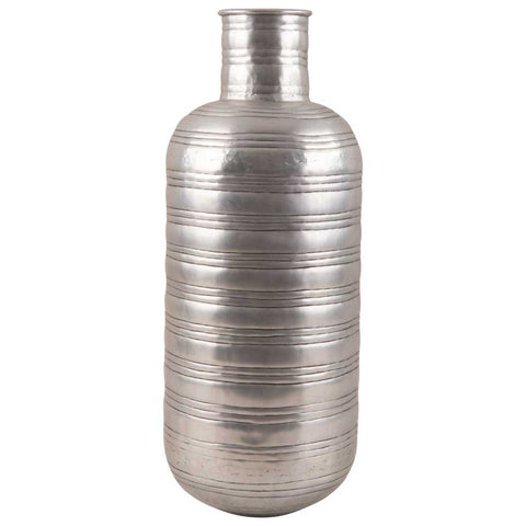Antique Silver Ribbed Aluminium Vase