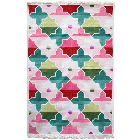 Pink and Green Cross and Star Dhurrie Rug