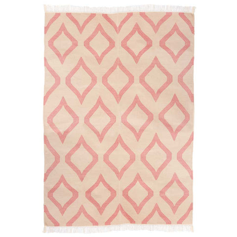 Pink and Beige Curved Diamond Cotton Dhurrie Rug