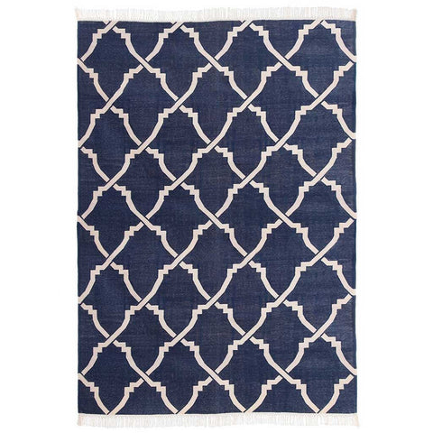 Heera Navy Blue and White Dhurrie Rug