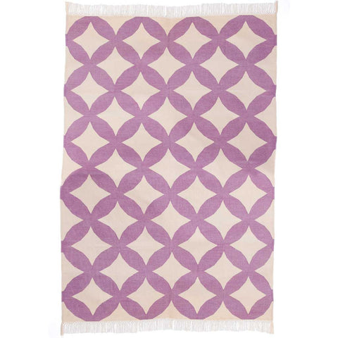 Lilac and White Stylised Circle Cotton Dhurrie Rug