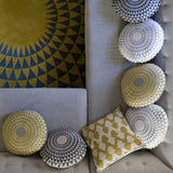 Embroidered Chartreuse and Dove Concentric Cushion - Feather Pad
