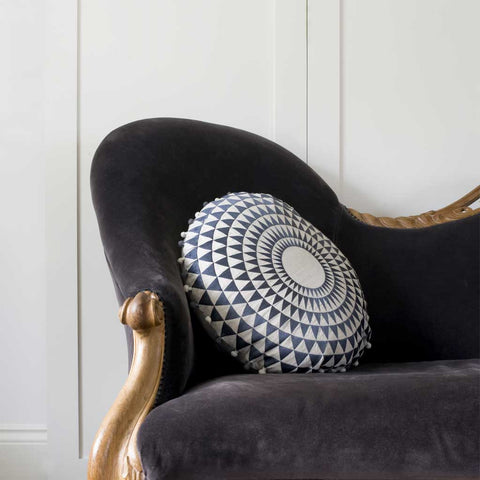 Embroidered Slate and Natural Concentric Cushion - Feather Pad