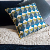 Hand Embroidered Slate and Olive Escher Cushion - Feather Pad