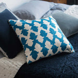 Hand Embroidered Teal Blue Lattice Cushion - Feather Pad