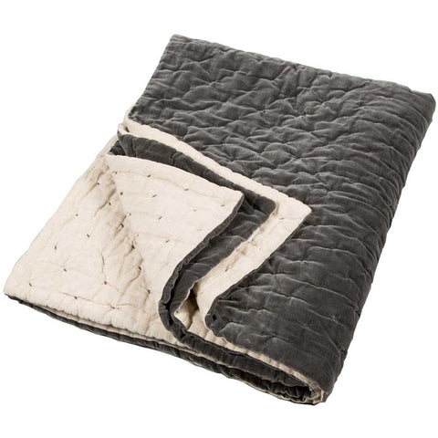 Slate Hand Stitched Cotton Velvet and Linen Quilted Bed Throw