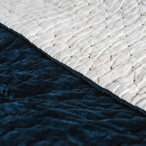 Navy Hand Stitched Cotton Velvet and Linen Quilted Bed Throw