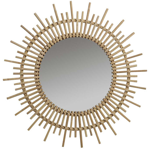 Large Natural Rattan Planet Mirror