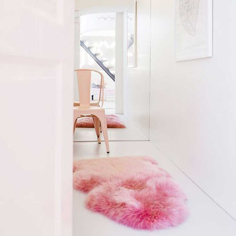 Faux Fur Pink Sheepskin Rug