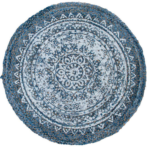 Round Denim and Jute Rug with White Print