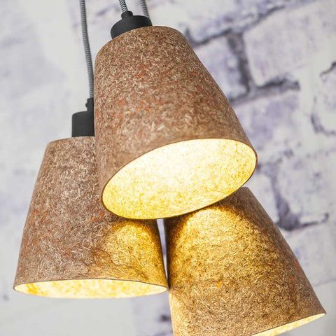 Sequoia 3 Shades Wood Chips Natural Pendant Light