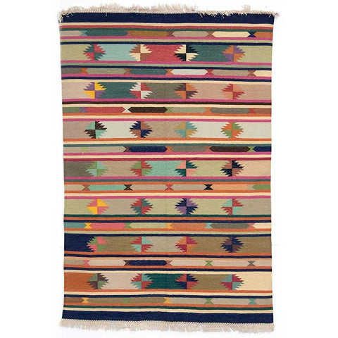 Dhaaree Multi Coloured Dhurrie Rug