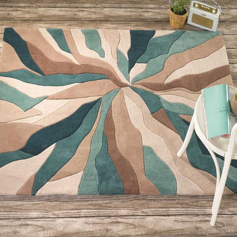 Infinite Splinter Rug in Teal Blue