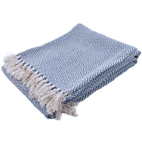 Herringbone Sofa or Bed Throw in Blue Cotton