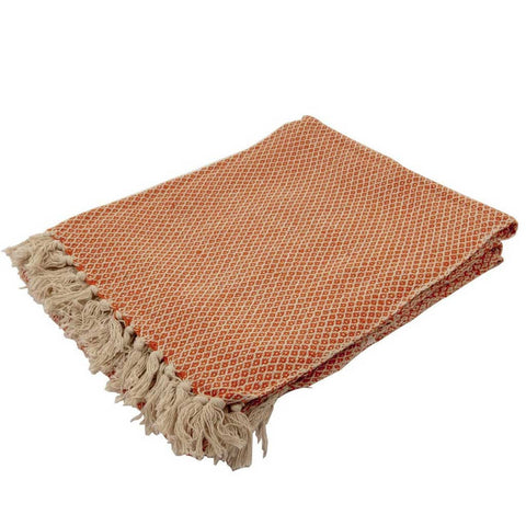 Cotton Diamond Sofa or Bed Throw in Orange
