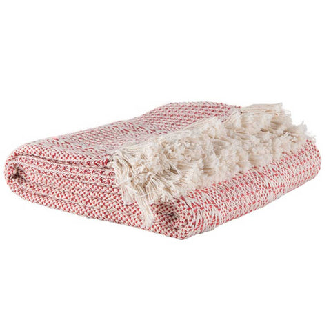 Striped Cotton Sofa or Bed Throw in Red