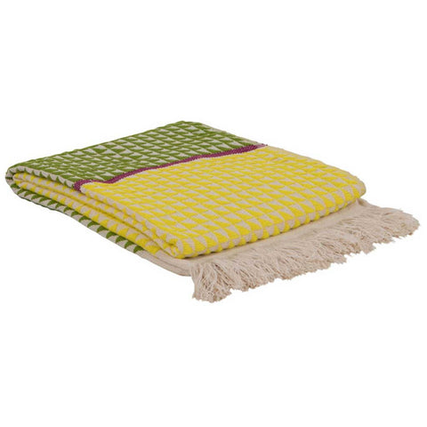 Patterned Sofa or Bed Throw in Yellow and Green