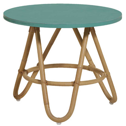 Natural and Aqua Rattan Diabolo Side Table