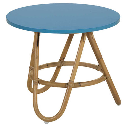 Natural and Blue Rattan Diabolo Side Table