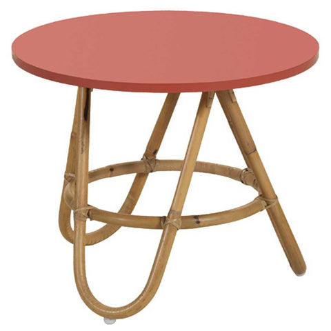 Natural and Coral Rattan Diabolo Side Table