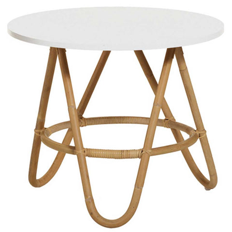 Natural and White Rattan Diabolo Side Table