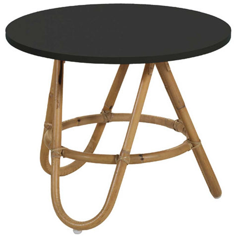 Natural and Black Rattan Diabolo Side Table